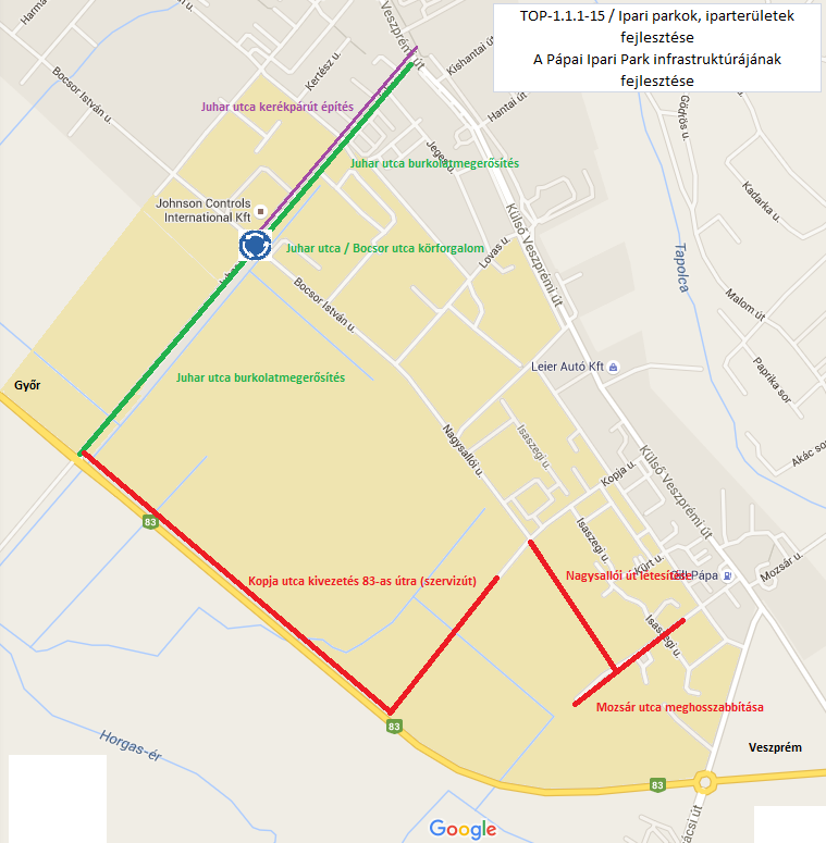 Térkép -  A Pápai Ipari Park infrastruktúrájának fejlesztése